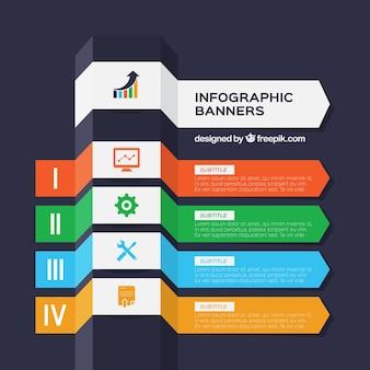 Bannières infographiques utiles dans un style géométrique
