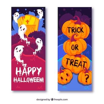 Bannières modernes d'Halloween avec un style coloré