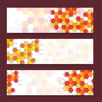 Bannières ou en-têtes colorés avec différentes formes hexagonales. Bannières vectorielles prêtes pour votre texte ou votre design.