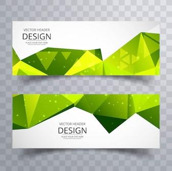 Bannières polygonales vertes