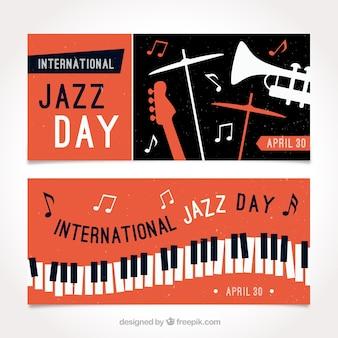 Bannières Retro avec des instruments de jazz
