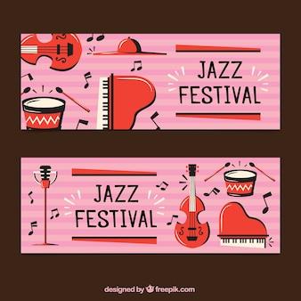 Bannières rétro des instruments jazz de musique