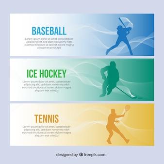 Bannières simples de sport avec des joueurs