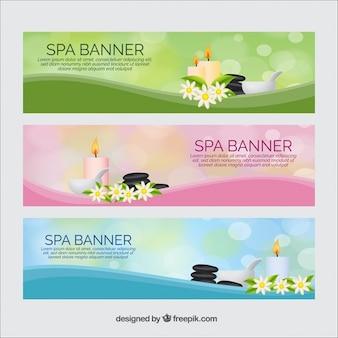 Bannières Spa avec des produits de beauté