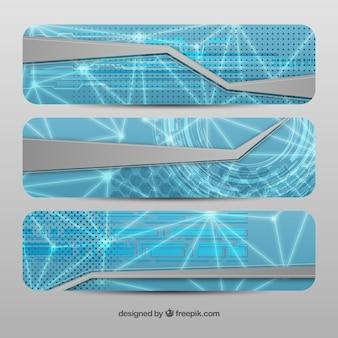 Bannières technologiques en style abstrait