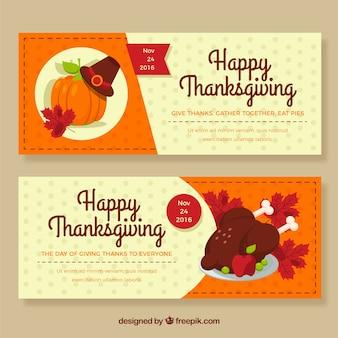 Bannières thanksgiving heureux
