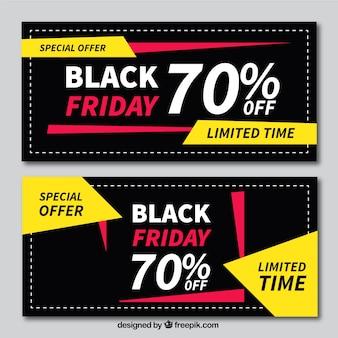 Bannières vendredi noir avec des formes géométriques