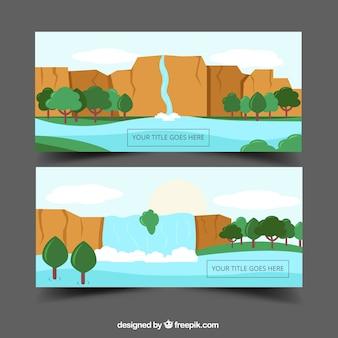 Bannières de cascades paysages