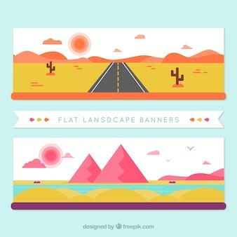 Bannières de paysages désertiques