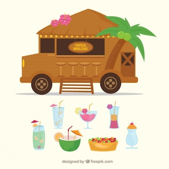 bar mobile Tropical avec des cocktails