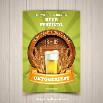Baril réaliste, verre de bière et blé