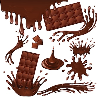 Barre au chocolat au lait et éclaboussures