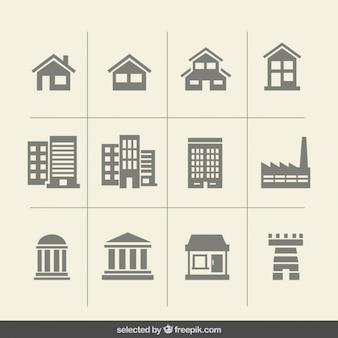 Bâtiment icônes monochromes