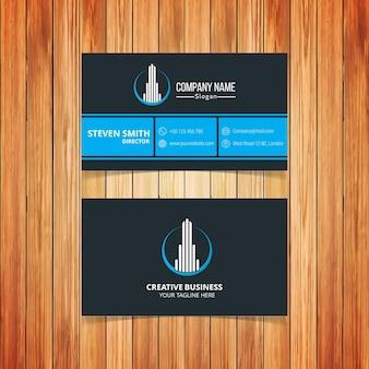 Bâtiment logo Carte d'affaires corporative minimale avec couleur bleu foncé et bleu clair
