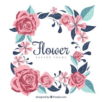 Beau cadre floral avec des roses et des feuilles