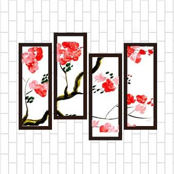 Beau ensemble de peinture suspendue en bois floral rouge d'aquarelle