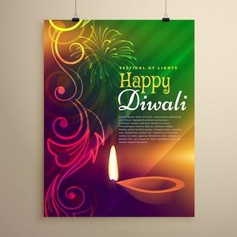 Beau flyer template diwali avec diya et design floral