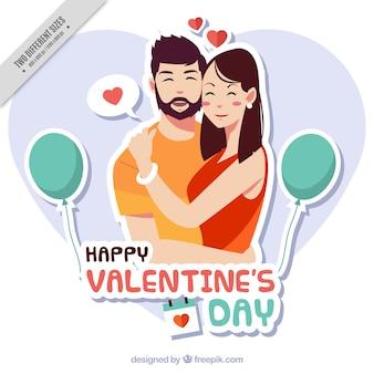 Beau fond avec un couple dans l'amour pour Saint Valentin