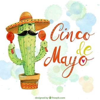 Beau fond d'aquarelle avec des cactus mexicains
