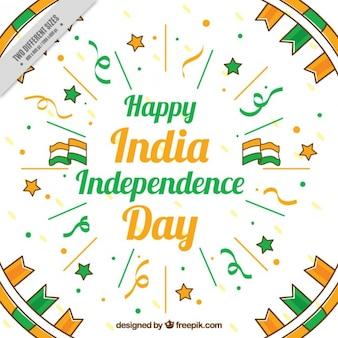 Beau fond d'inde jour de l'indépendance avec streamer et drapeaux
