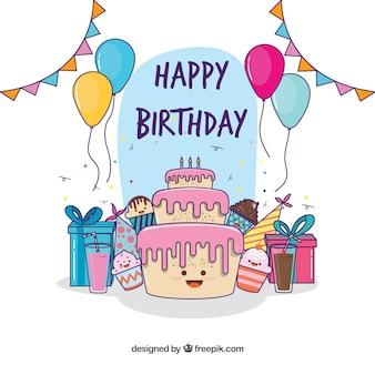 Beau fond de gâteau d'anniversaire et cadeaux dessinés à la main