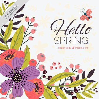 Beau fond de printemps avec des fleurs dessinées à la main