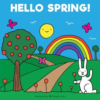 Beau fond de printemps dans un style enfantin