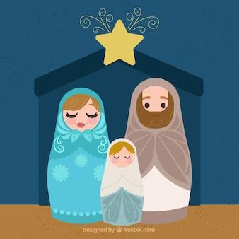 Beau fond de scène de nativité avec étoile