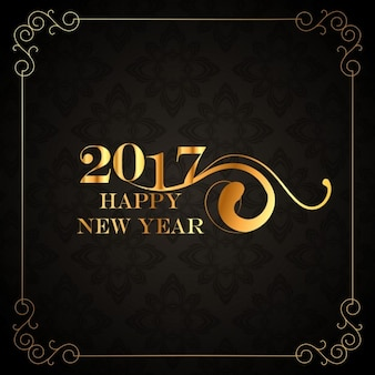 Beau millésime 2017 heureux nouvelle carte de voeux année sur fond noir