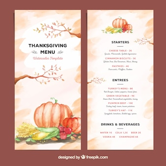 Beau modèle de menu de thanksgiving aquarelle