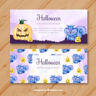Beau pack de bannières d'aquarelle halloween