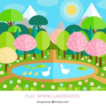 Beau parc au printemps