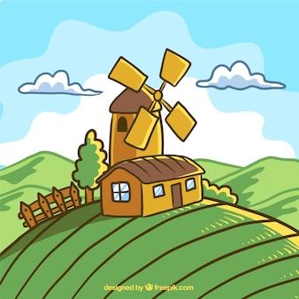 Beau paysage de printemps avec moulin à vent