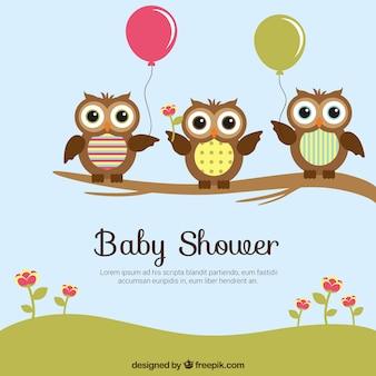 Bébé carte de douche avec hiboux mignons