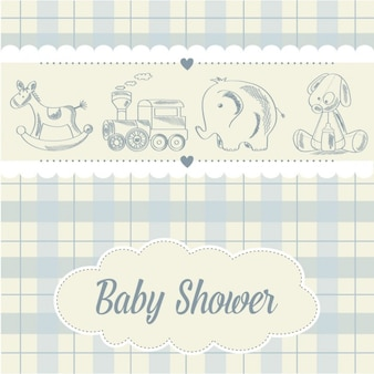 Bébé carte garçon de douche avec rétro jouets