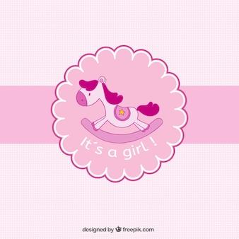 Bébé carte rose de douche