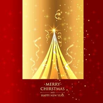 Bel arbre de Noël dans le fond d'or