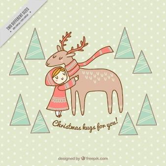 Belle arrière-plan de fille avec capuche et rennes