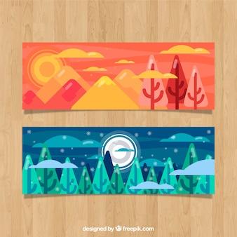 Belle bannière de paysage avec des arbres en forme de plat