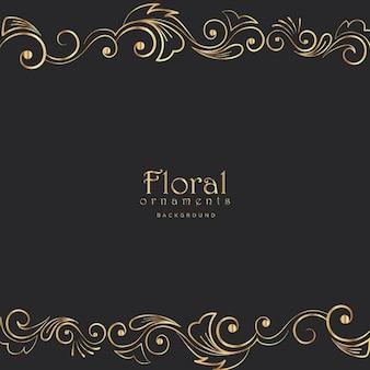 Belle bordure florale d'or sur fond noir