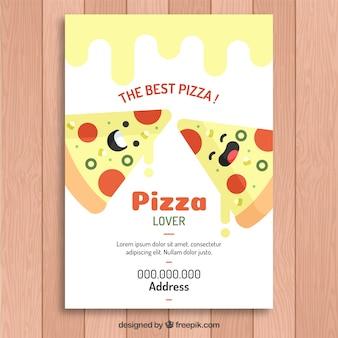 Belle brochure avec des tranches de pizza au fromage