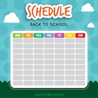 Belle calendrier scolaire avec un fond de paysage