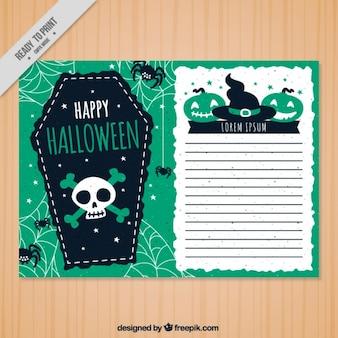Belle carte de voeux Halloween avec une tombe