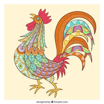 Belle coq ethnique dessiné à la main