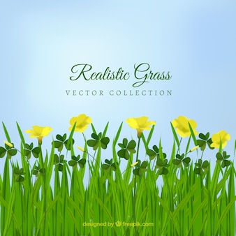 Belle herbe réaliste avec des fleurs jaunes
