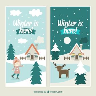 Belle hiver est là bannières emballent