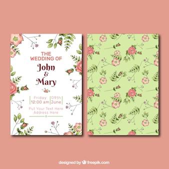 Belle invitation de mariage avec des fleurs dessinées à la main