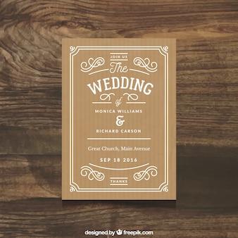 Belle invitation de mariage avec des ornements simples