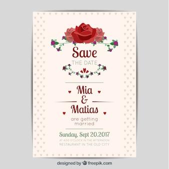 Belle invitation de mariage avec des roses