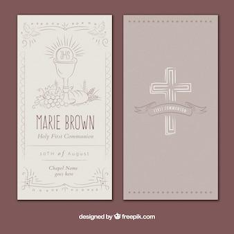 Belle invitation vintage de première communion